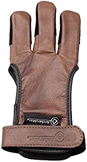 ArcheryMax Handmade Brown Leather Three Finger Archery Gloves