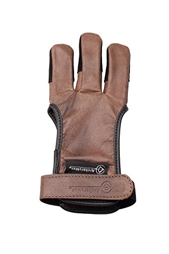 ArcheryMax Handmade Brown Leather Three Finger Archery Gloves, Medium