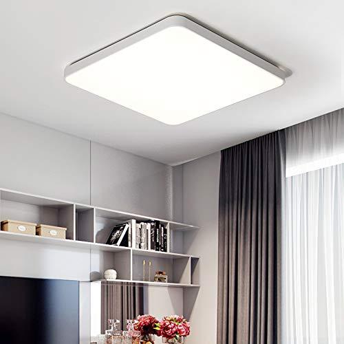 BFMBCHDJ Rechteckige Fernbedienung Wohnzimmer Schlafzimmer Küche Moderne Led Deckenleuchte Dekorative Deckenleuchte Weiß Warmweiß 60x60x5cm 44w