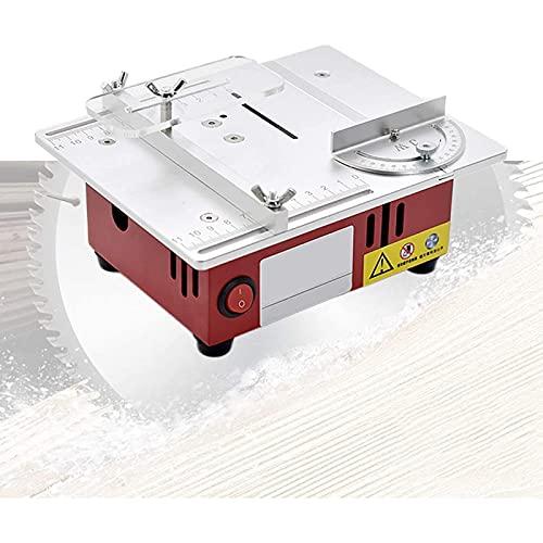 Sierra de mesa portátil de sobremesa, Sierra de mesa Liftable, sierra de mesa portátil 96W con hoja de sierra circular y adaptador de corriente, velocidad variable 3000-9200 RPM, Max. Profundidad de c