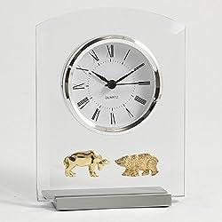 Bey-Berk Stock Market Desktop Clock, Grey