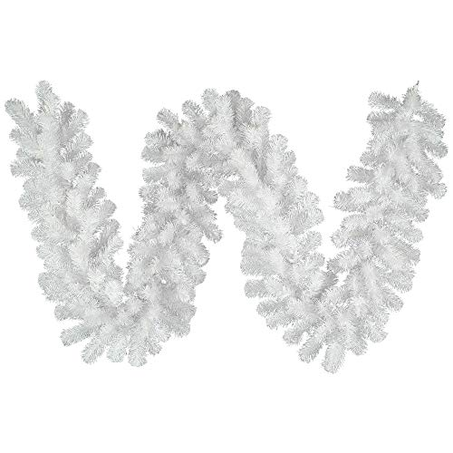 Vickerman Crystal White Garland with 210 Tips, 9-Feet by 12-Inch - Unlit