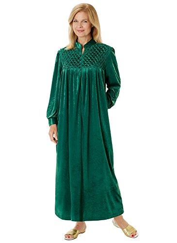 Carol Wright Gifts Long Zip-Front Robe, Burgundy, Size XXL
