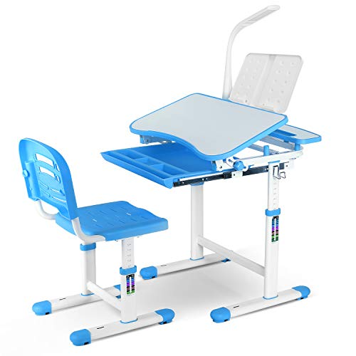 POTBY Kids Desk and Chair Set, Height Adjustable Children Study Table with Wood Tiltable Anti-Reflective Tabletop, Bookstand, Pull-Out Drawer Storage and Touch Led for School Students (Blue)