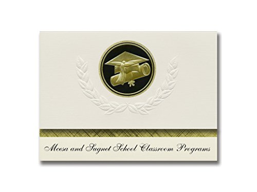 Signature Announcements Mcesa und Sugnet School Classroom Programme (Midland, MI) Graduation Ankündigungen, Presidential Elite Pack 25 Cap & Diplom Siegel Schwarz & Gold