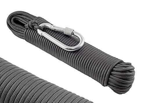 WIZ-ION-AIR Paracord 550 Seil, 4mm - Aus 30M Reißfestem Survival Outdoor Nylon Seil, 250kg Traglast, 9 Kern-strängen Typ 3 Fallschirm-Schnur, Mit Stahl Karabiner Haken