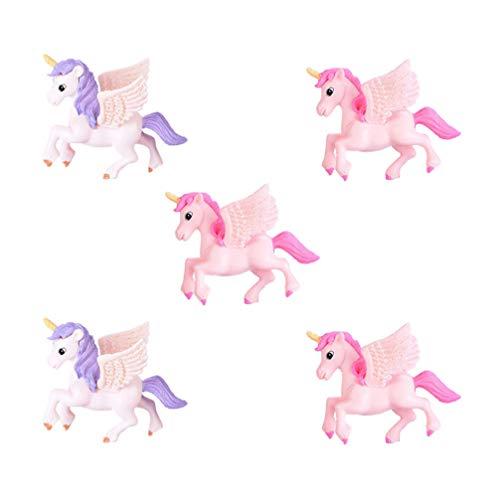 Jojofuny - Figura de unicornio, diseño de unicornio, 5 piezas, diseño de alas volantes, caballo, pastel, topper micro hada, jardín, dólhouse paisaje, San Valentín, decoración (color