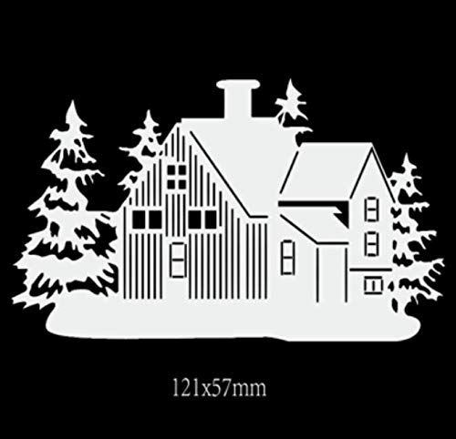 Sneeuw huis snijden sjabloon papier mes mal handboek DIY reliëf koolstofstaal mes sterven 12.1X5.7Cm