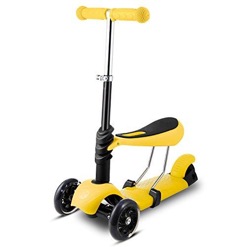 Profun Patinete para Niños Scooter de 3 Ruedas 3-en-1 con Led Luces Patinete con Altura de Asiento Ajustable para Niños de 1 a 8 años (Amarillo)