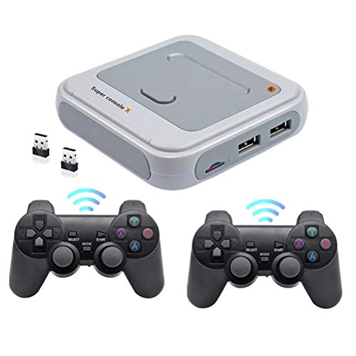 NANUNU R8 TV videojuegos Mini TV Video Game Player, Salida WiFi HDMI Retro, con 64G 30000 Juegos con Dual 2.4G Wireless Controller 1080P 720P HD Compatible para PS1/N64/DC