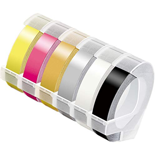 MarkDomain Colored Embossing Tape Replacement for Dymo Embossing Label Maker Organizer Xpress 12965 12966 3D Plastic Labels, 3/8 in. X 9.8Ft, White on Black/Pink/Gold/Yellow/Clear/Silver 6-Pack