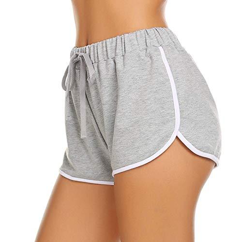 MOKBAY Damen Shorts Sommer Sports Kurze Hosen Running Yoga Hose,Damen Shorts Hotpants Fitness Shorts Kurze Leggings Yogahose Sporthose Laufshorts Tights Kurze Hosen(Grau:M)
