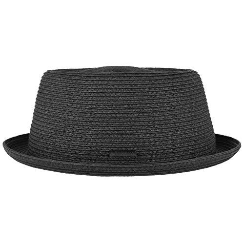 Stetson Dawson Black Pork Pie Herren - Sommerhut mit UV-Schutz 40 - Strandhut aus Papierstroh - Strohhut mit Flechtmuster - Sonnenhut Frühjahr/Sommer schwarz L (58-59 cm)