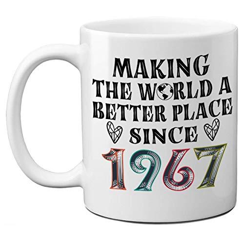 53 Tazas de cumpleaños para hombres, mujeres, haciendo del mundo un lugar mejor desde 1967 Tazas de café, regalo para 53 cumpleaños, 53 años de edad, regalos de cumpleaños vintage para amigos, compañe
