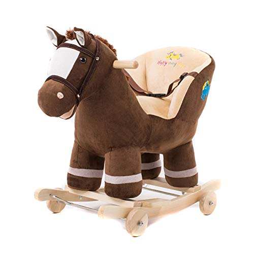 Xyanzi - Toy Rocking Horse Baby toys,Plush Animal Rocking chair, 2-in-1 Wooden Rockers & Wheels, Seat & Seat Belt and Sounds, Ride on Toy for Babies 1-3 Years