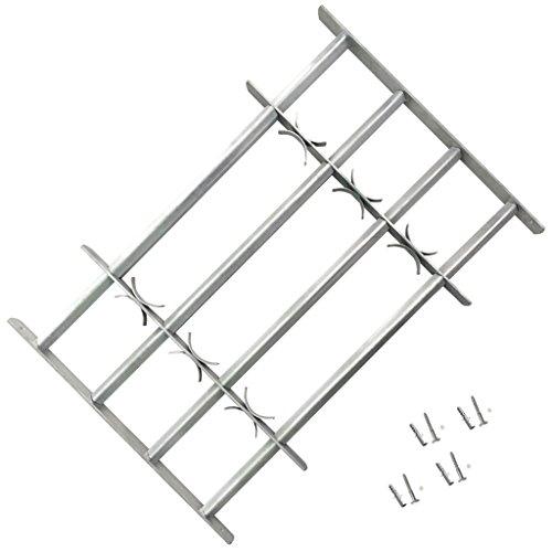 Tidyard Reja de Seguridad Ajustable Cuatro Travesaños de Acero Galvanizado para Ventanas 700-1050mm, Altura de 600 mm