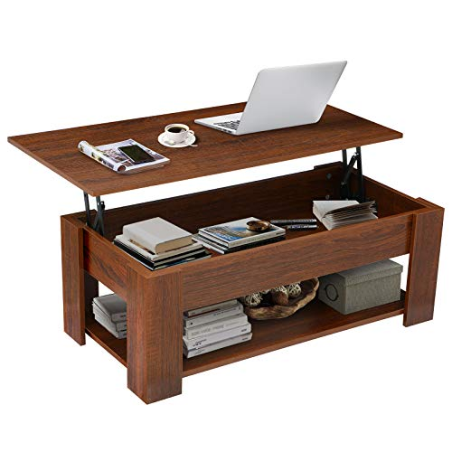 KINGSO Lift Top Coffee Table for Living Room with Hidden Storage Compartment Shelf Rustic Pop Up Coffee Table Easy Assembly Modern Wood Storage Table Accent Furniture,Brown