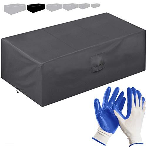 Funda Protectora para Muebles de jardín 242 * 161 * 100 cm-recubierta de PVC-Impermeable/Resistente a los Rayos UV/Impermeable-con Aberturas de ventilación-Bonus: Guantes de jardinería