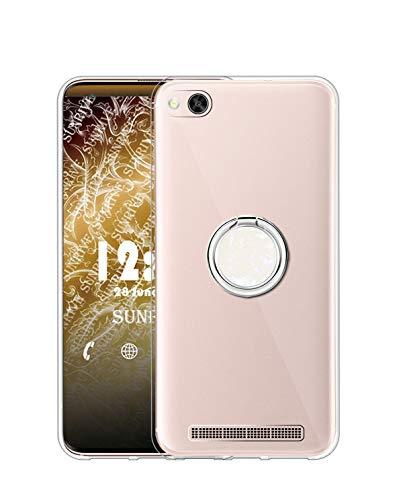 Sunrive Kompatibel mit Xiaomi Mi 4c Hülle Silikon, Transparent Handyhülle 360°drehbarer Ständer Ring Fingerhalter Fingerhalterung Schutzhülle Etui Hülle(Weiß) MEHRWEG