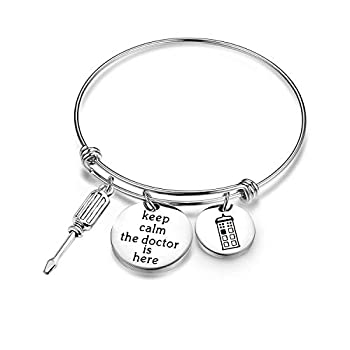 Doctor Who Bracelet Keep Calm the Doctor is Here with Police Box Charm Bracelet Tardis Gift  Bracelet