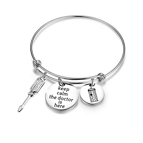 Doctor Who Bracelet Keep Calm the Doctor is Here with Police Box Charm Bracelet Tardis GiftDoctor Who Bracelet Keep Calm the Doctor is Here with Police Box Charm Bracelet Marvel Movie gift (Bracelet)