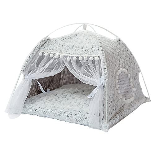 Lifemaison Tipi Zelt Katzenbett Katzenzelt Katzenhaus Höhle bequemes Bett mit Tiermatratze Weich Tierbett Haustierhütte für Kleine/Mittlere Hunde Katze(L)