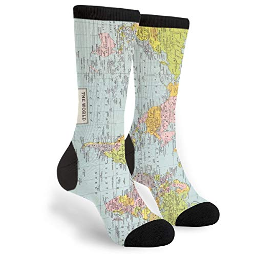 FWSXIVN World Map Vintage Casual Cool 3D Printed Crazy Funny Colorful Fancy Novelty Graphic Crew Tube Socks, Black and White, One Size