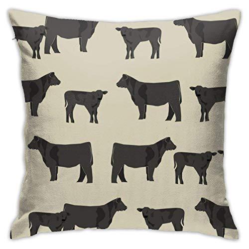 Shenguang Kissenbezug,Black Angus Cattle and Cow Cow Design Kissenbezüge Kissenbezug Kissenbezug Kissenbezüge,45CM X 45CM