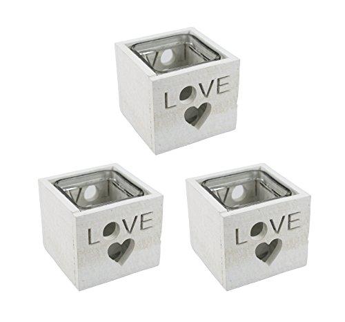 Decoline Teelichthalter Love 3 Stück weiß
