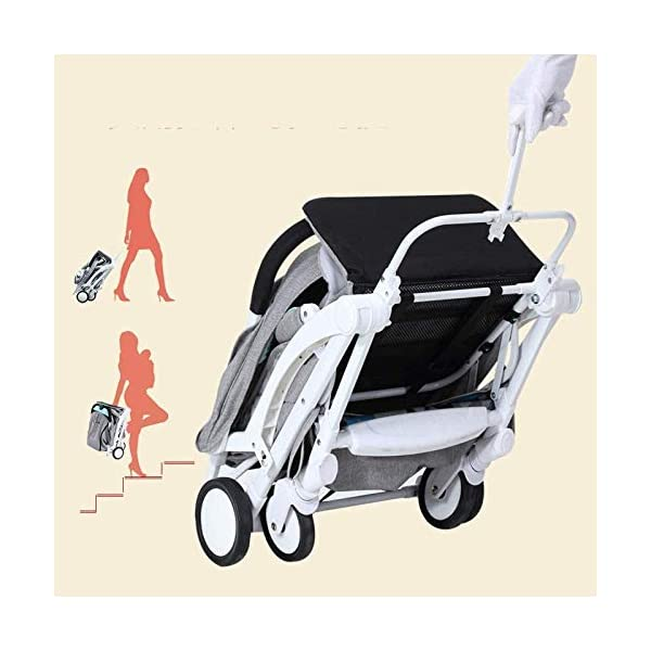 LAMTON Baby Stroller for Newborn, Stroller, Lightweight Pushchair Compact Buggy Foldable Suitable for Airplane,49x71x104cm (Color : Gray) LAMTON Adjustable handlebars for people of all heights can adjust the most comfortable push position Easy to fold, can be picked up in the trunk of the car, his parents urge him to go shopping, travel, walk, play and talk, or picnic outdoors - Quick folding system. It can be operated with one hand and folded with a lever to stand. The weight is 5.8KG and is light! 8