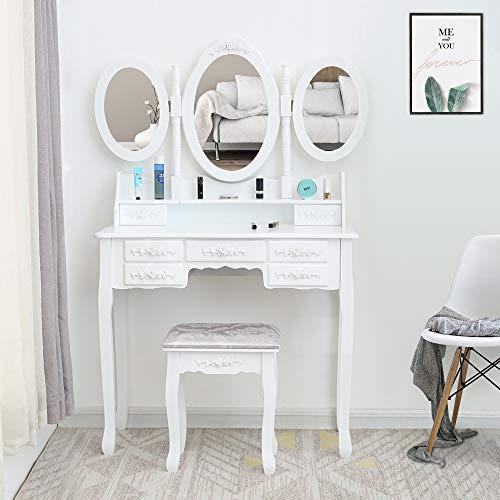 Fookduoduo Tocador, espejo triple, 7 cajones, 3 espejos ovalados, tocador, mesa de maquillaje, mesa de escritorio, espejo acolchado para dormitorio, almacenamiento de joyas