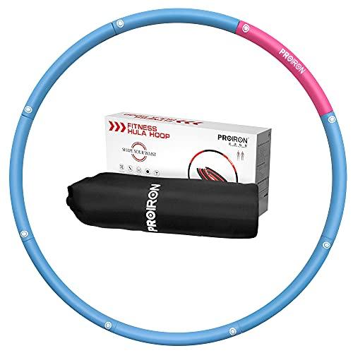 PROIRON Hula Hoop Adulto Aro de Fitness Desmontable con Espuma, Hula Hoop 1,2kg Perder Peso Ejercicio 73-98cm, Rosa/Azul