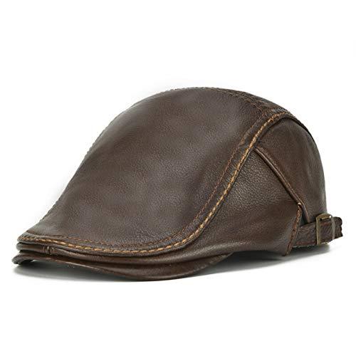 Huangjiahao Herren-Ledermütze, flach, einfarbig, lässig, warm, verstellbar, für Reisen, Autofahren, Golf Gr. Einheitsgröße, braun