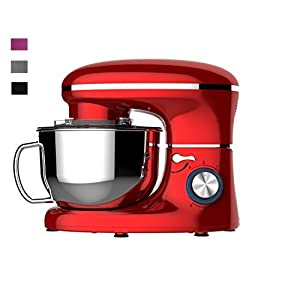 Heska – 1500W -5.5L – Professional Food Stand Mixers – Low Noise Cooking Kitchen Mixer – 5.5 Litre Mixing Bowl with Splash Guard – Includes Beater, Dough Hook, Whisk And Extra Flex Edge Beater NEW DISHWASHER SAVE ATTACHMENTS