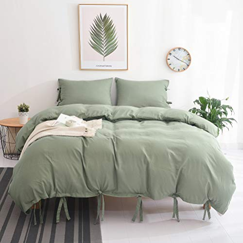 M&Meagle Duvet Cover Green,Solid Color Bowknot Design,100%...