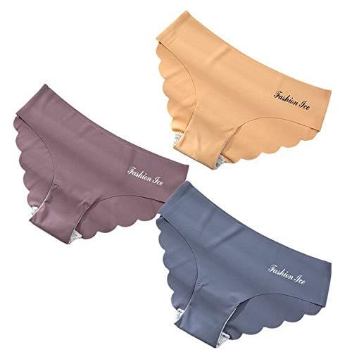 Xiaobing 3 Pieces/Seamless Women's Panties Set Underwear Ladies Solid Color Low Waist Panties -B565-L-M2353
