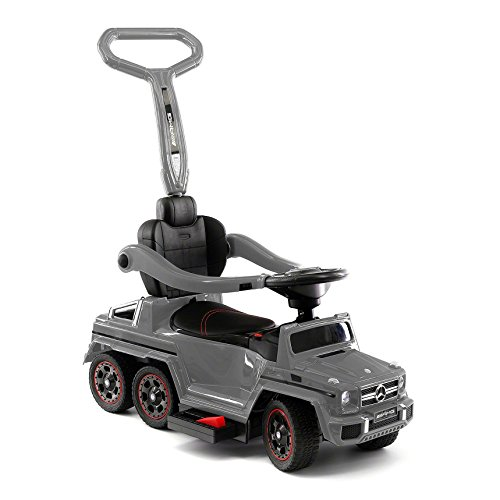 Moderno Kids Mercedes G63 AMG 6X6 Baby Toddler Push Car Stroller Convertible to Foot to Floor Toy or Battery Powered Children Electric Ride On + Integrated MP3 Music Player + Working LED Lights (Gray)