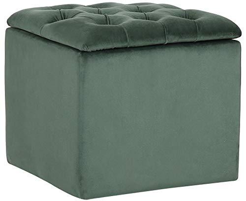 CLP Pouf Contenitore Eilat in Velluto e Tessuto I Sedile Contenitore Imbottito Poggiapiedi I Pouf Trapuntato Salvaspazio, Colore:Verde, Materiale:Velluto