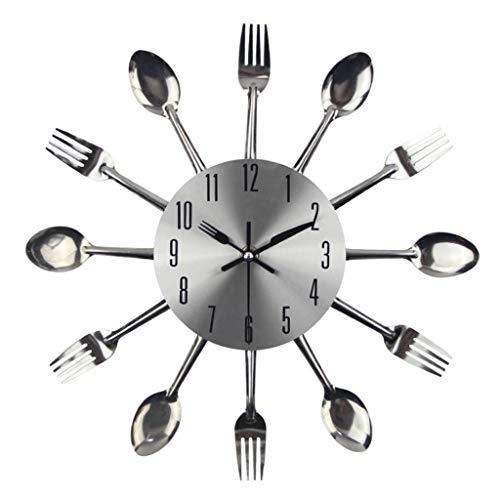LIFEI Reloj de Pared silencioso Reloj de Pared Creativo Diseño de vajilla de Acero Inoxidable Personalidad de Moda Decoración del hogar Adecuado para Sala de Estar Cocina Restaurante Silver