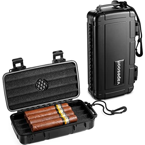 VAPESOON Travel Humidor Case - Protable Cigar Box Plastic Holds 5 Cigar Waterproof Tabacco case Durable Humidor Box Accessories Cigar Gift for Men and Father's Day