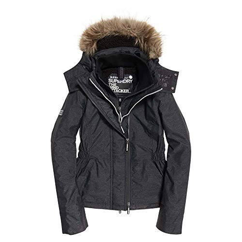 Superdry Hooded Fur Winter WINDATTACKER Giacca Sportiva, Grigio (Charcoal Marl 04q), Small (Taglia Produttore:10.0) Donna