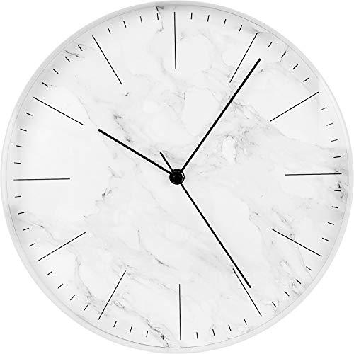 SELVA wandklok, kwartsklok, wit, marmer, lijnindexe, zwarte wijzers, Ø 31,5 cm