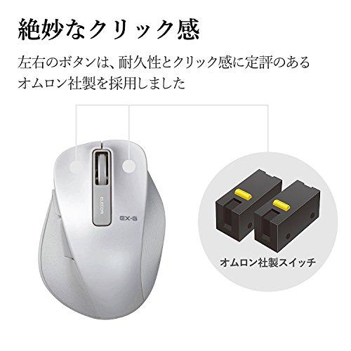 『エレコム マウス ワイヤレス (レシーバー付属) Sサイズ 小型 5ボタン (戻る・進むボタン搭載) BlueLED 握りの極み ホワイト M-XGS10DBWH』の6枚目の画像