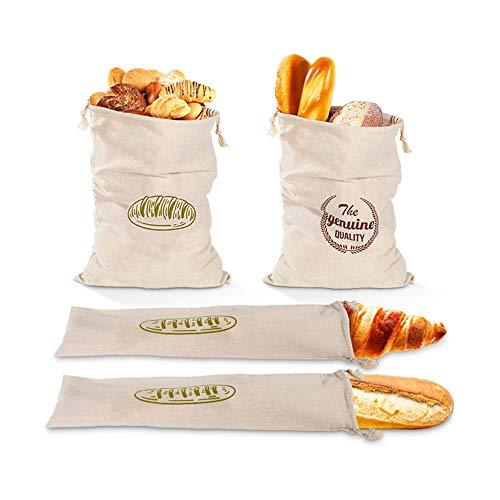 Sureh 4 x Leinen-Brotbeutel, wiederverwendbar, mit Kordelzug, groß, ungebleicht, Beutel für Brot, Baguette, selbstgemachtes Brot und weitere Lebensmittel