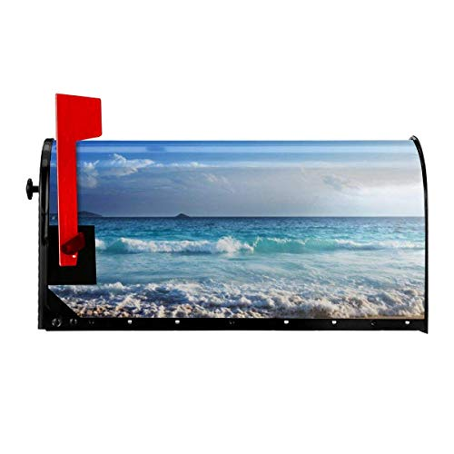 Odeletqweenry Ocean Waves Print Mailbox Cover Magnetic Mailbox Wraps Post Letter Box Cover Standard Size 21 x 18 Inches Waterproof Canvas Mailbox Cover