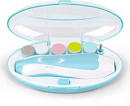Baby Nagelfeile - RIGHTWELL Elektrischer Baby Nagelknipser mit LED-Frontlicht - Sicher und Leise, Baby-Nagelschneider mit 6 Schleifköpfen für Neugeborene, Kleinkinder