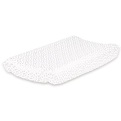 Metallic Silver Dot Baby Changing Pad Cover by The Peanut Shell