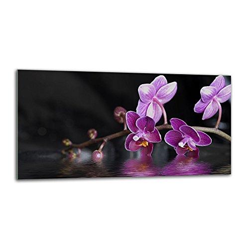 decorwelt Küchenrückwand Spritzschutz aus Glas 80x40 cm Wandschutz Herd Spüle Küchenspritzschutz Fliesenschutz Fliesenspiegel Küche Dekoglas Orchidee Lila