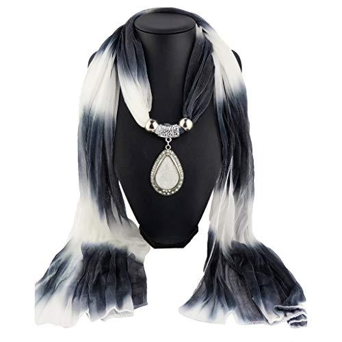 qingqingRWomen Farbverlauf Wassertropfen Anhänger Schmuck Schals Ombre Chiffon Halskette