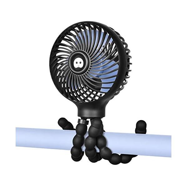 WiHoo Mini Handheld Stroller Fan,Personal Portable Baby Fan with Flexible Tripod...